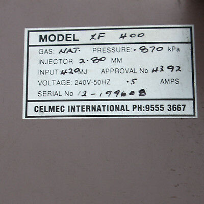 Celmec International XF 400 Natural Gas Ducted Heating Heat HVAC - Heater Only