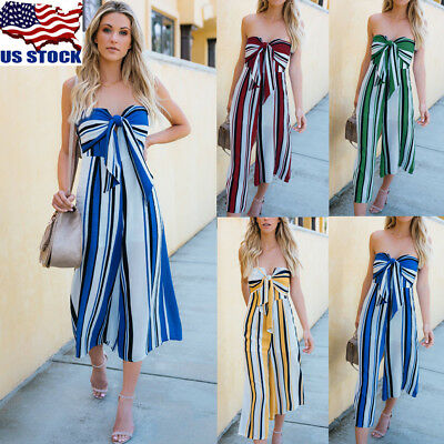 Women's Striped Sleeveless Long Jumpsuit Overall Strapless Beach Romper Playsuit