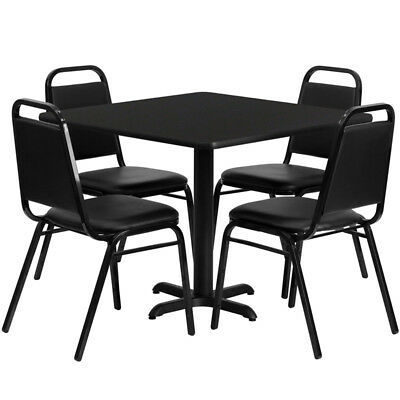 36'' Square Black Laminate Table Set with 4 Black Trapezoidal Back Banquet Ch...