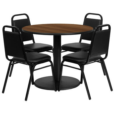 36'' Round Walnut Laminate Table Set with 4 Black Trapezoidal Back Banquet Ch...
