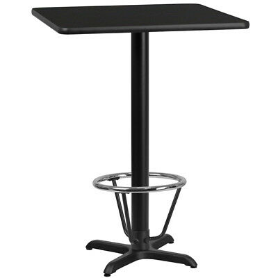 24'' Square Black Laminate Table Top with 22'' x 22'' Bar Height Table Base a...