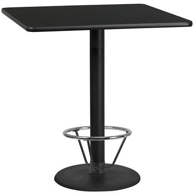 42'' Square Black Laminate Table Top with 24'' Round Bar Height Table Base an...