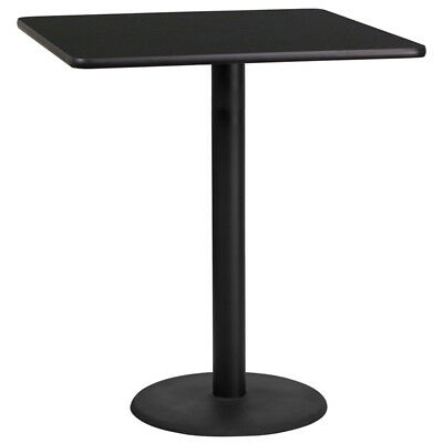 36'' Square Black Laminate Table Top with 24'' Round Bar Height Table Base