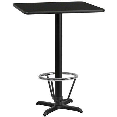 30'' Square Black Laminate Table Top with 22'' x 22'' Bar Height Table Base a...