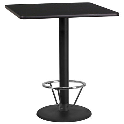 36'' Square Black Laminate Table Top with 24'' Round Bar Height Table Base an...