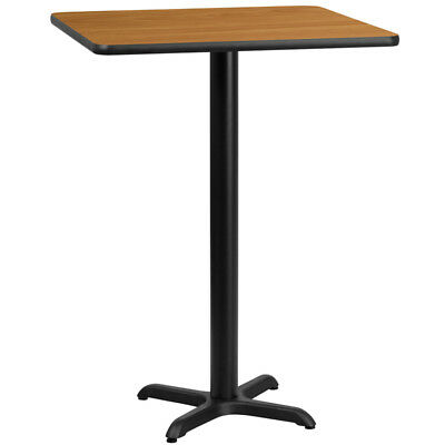 24'' Square Natural Laminate Table Top with 22'' x 22'' Bar Height Table Base