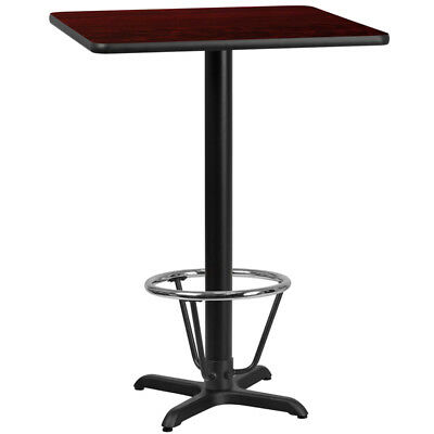 24'' Square Mahogany Laminate Table Top with 22'' x 22'' Bar Height Table Bas...