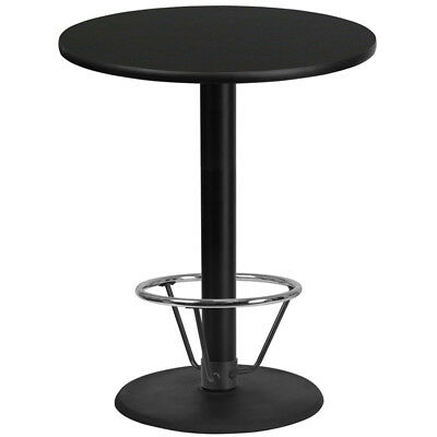 36'' Round Black Laminate Table Top with 24'' Round Bar Height Table Base and...