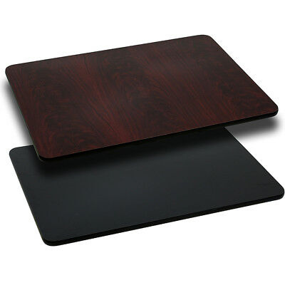30'' x 60'' Rectangular Table Top with Black or Mahogany Reversible Laminate Top