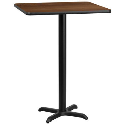 24'' Square Walnut Laminate Table Top with 22'' x 22'' Bar Height Table Base