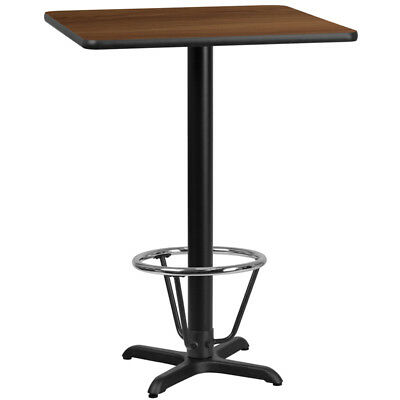 30'' Square Walnut Laminate Table Top with 22'' x 22'' Bar Height Table Base ...