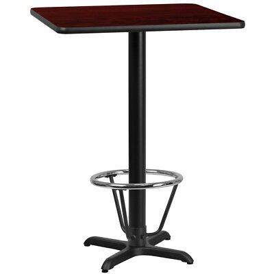 30'' Square Mahogany Laminate Table Top with 22'' x 22'' Bar Height Table Bas...