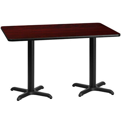 30'' x 60'' Rectangular Mahogany Laminate Table Top with 22'' x 22'' Table He...