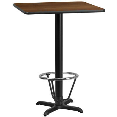 24'' Square Walnut Laminate Table Top with 22'' x 22'' Bar Height Table Base ...