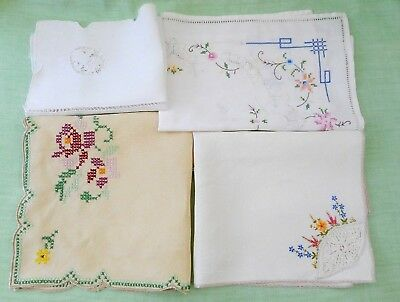 4 vintage embroidered tray cloths / mats - cutwork, cross-stitch, lace