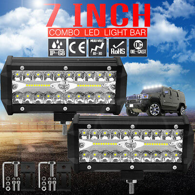 7inch CREE LED Work Light Bar Spot Flood OffRoad Driving 4WD 4x4 SUV Reverse FR1