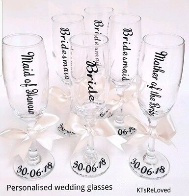 *buy 5 get 1 free* wedding  champagne flute glass personalised hen party bride