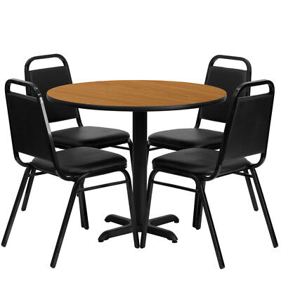 36'' Round Natural Laminate Table Set with 4 Black Trapezoidal Back Banquet C...