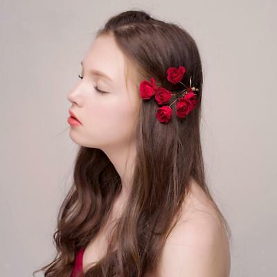 Red fabric Flower Hair Pin Clip Pin Hairband Bridal Wedding Party for Women