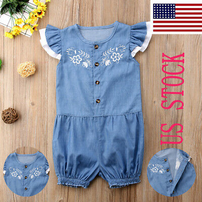 USA Newborn Infant Kid Baby Girl Romper Bodysuit Jumpsuit Clothes Outfits Lots