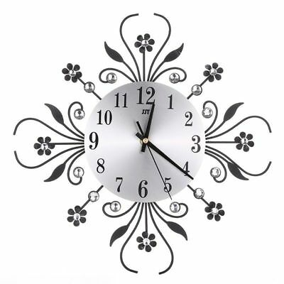 Large 3D Wall Clock Art Metal Diamonds Flower Silent Clock Home Office Decor DIY