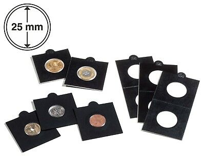 25 Black Self Adhesive 2x2 Coin Flips Holders 25mm For US Quarter / Gold Coins