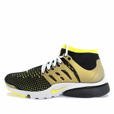 * Nike Air Presto Flyknit Ultra [835570-007] NSW Casual Black/Yellow-Gold * New