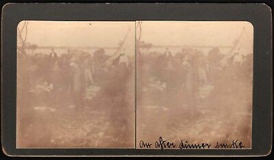 """Stereo View Card """"After Dinner Smoke"""" *See Photos* Vintage Stereoscopic Photo"""