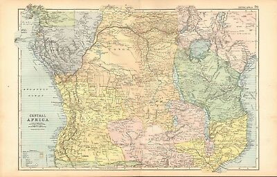 1893 Antique Map - Central Africa, Congo, Angola