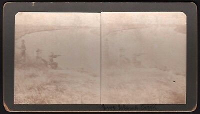 """Stereo View Card """"Creek Shooting"""" *See Photos* Vintage Stereoscopic Photo"""