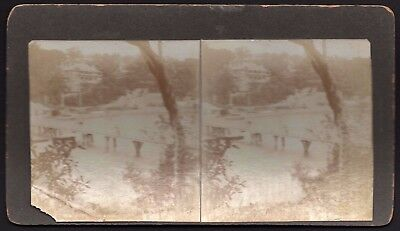 """Stereo View Card """"Bridge River"""" *See Photos* Vintage Stereoscopic Photo"""