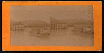 """Stereo View Card """"Harbour Buildings"""" *See Photos* Vintage Stereoscopic Photo"""