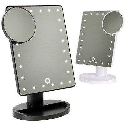 LED Light Up Illuminated Make Up Bathroom Mirror With Magnifier | M&W