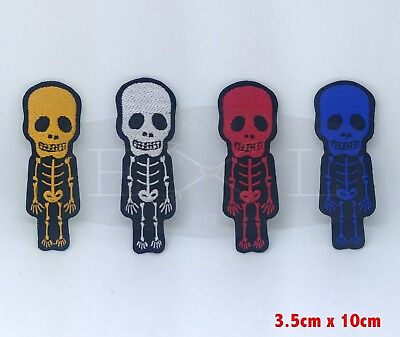 CUTE Skull Skeleton Biker Rock Goth Emo BOW Embroidered Sew Iron On Patch
