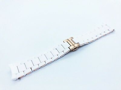 WHITE 20mm RUBBER/STEEL Strap Band Bracelet fit Emporio Armani AR5920 watch+pins