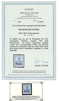 Dt. Post in CHINA  Nr VIIId ** FFA Steuer s. Scan