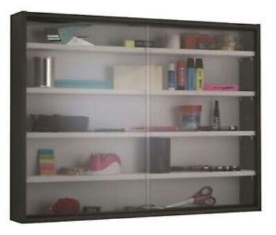 15!E1 Display Cabinet Modern Storage Shelves Wall Glass Case Box Collectibles
