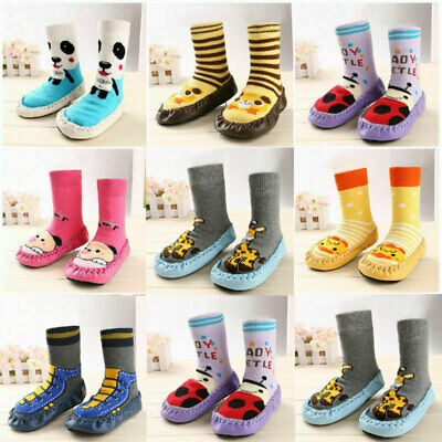 Baby Toddler Kids Anti-slip Crawling Cartoon Socks Shoes Slipper Boots UK