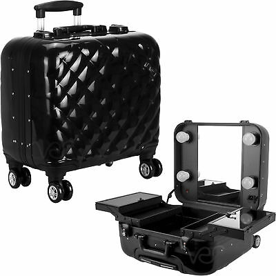 Black Quilted Professional Travel 4-Wheels Rolling Makeup Studio Case with LE...