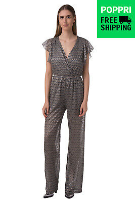 GUESS Jumpsuit SizeS Patterned Deep Wrap Neck Made in Italy W64D60W8NG0
