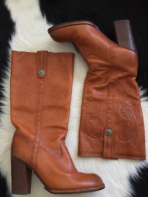 """Women's Vintage Perfect Tan Tooled 1970s """"Aldo"""" Heeled Western Cowboy Boots 41"""