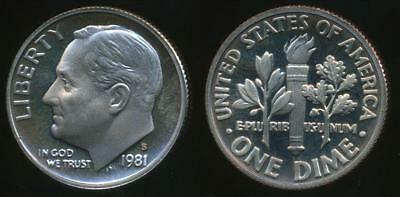 United States, 1981-S Dime, Roosevelt (Type 1) - Proof
