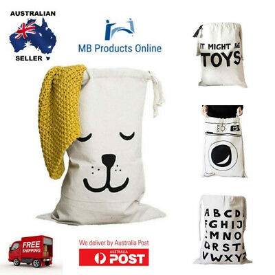 Kids Bedroom Laundry Basket Washing Hamper and Toy Storage Bag Various Designs