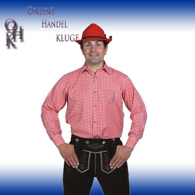 12089 # Shirt, Red-White Checked with Breast Pocket Gr.46/48 Bis 58/60
