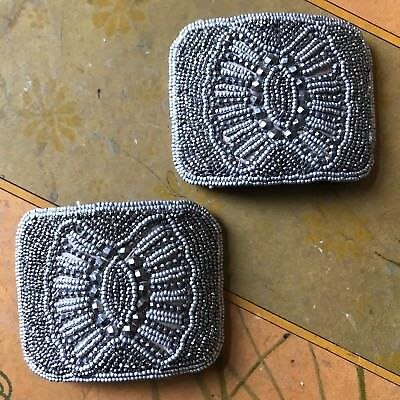 Pair of Antique Victorian Beaded & Riveted Cut Steel Shoe Buckles