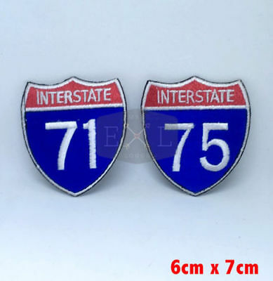 Interstate Highway 71 and 75 road sign Iron/Sew on Embroidered Patch UK Seller