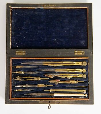 Antique Mathematical Drafting Drawing tool set in wood box After Harling London