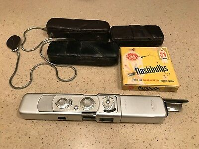 """Vintage Minox B """"Spy"""" Subminiature Camera w/ Leather Case & Chain AS IS"""