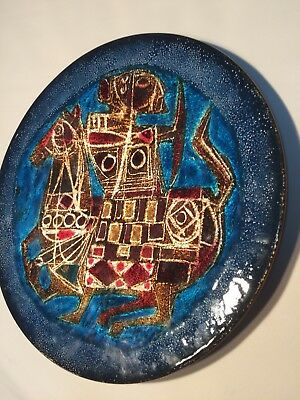Stunning Mid-Century Enamel on Copper Plate Signed Del Campo Italy For A.H.