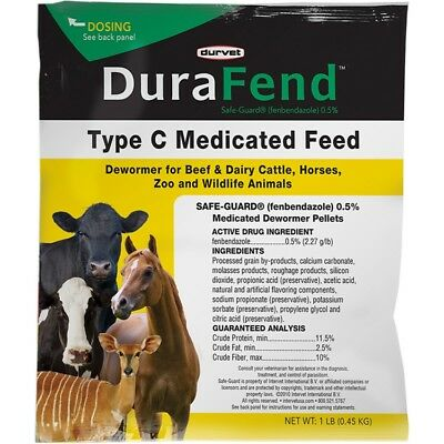 DURAFEND TYPE C MEDICATED DEWORMER FEED - 001-07966(Pack of 1)